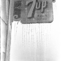 7-Up Sign Covered in Ice