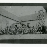 Group of Children and Adults in Front of Schoolhouse, Second Image