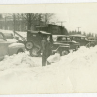 Dr. Wayne Richardson Shoveling Snow on West King Street, March 1960