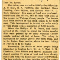 Letter to Editor from W. W. Mast in Winter Beach, Florida, Watauga Democrat Clipping, February 10, 1955