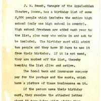 Brief Description of Birthday Postcard Promotion, February 13, 1970
