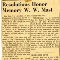 Resolution Honoring W. W. Mast, Newspaper Clipping, 1959