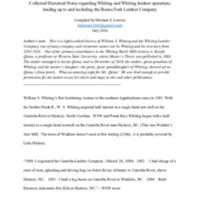 Collected Historical Notes regarding Whiting and Whiting lumber operations leading up to and including the Boone Fork Lumber Company
