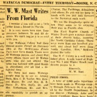 Letter to Editor from W. W. Mast in Florida, Watauga Democrat Clipping, March 8, 1956