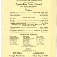 Graduating Exercises Program, Appalachian State Normal High School, May 6, 1927