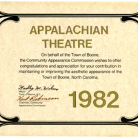 Town of Boone Community Appearance Commission Award to Appalachian Theatre, 1982